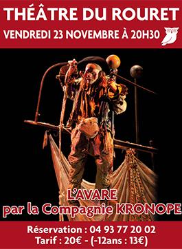 Vendredi 23 Novembre – 20h30 – L'Avare par la compagnie Kronope